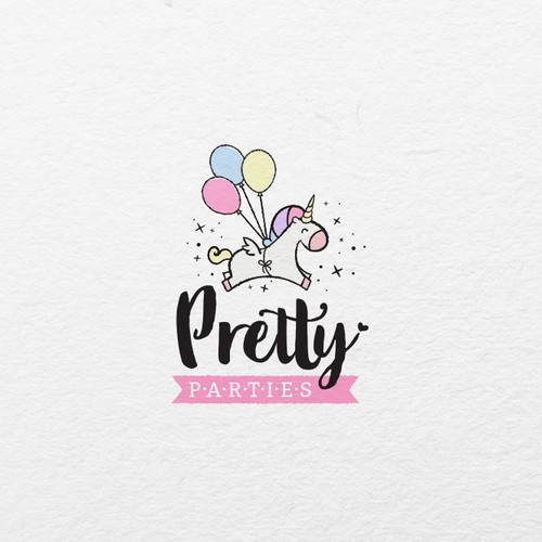 Pretty, elegant and fun logo for a party business