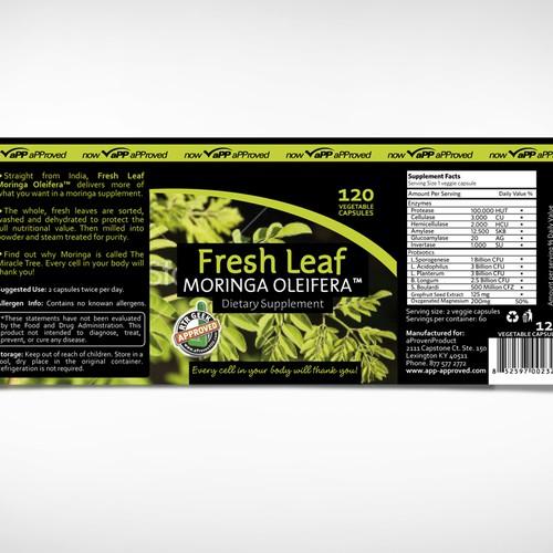 Create the next product label for Fresh Leaf Moringa Oleifera