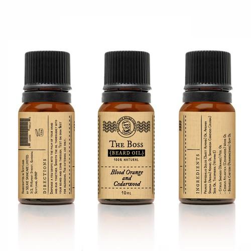 Vintage beard oil label design