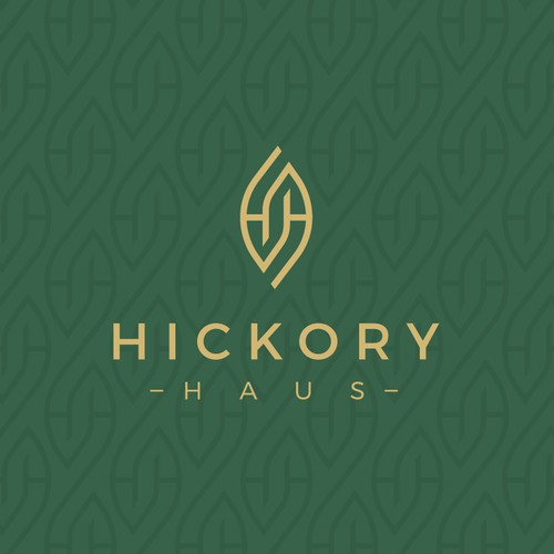 The H H monogram logo forms the leaf symbol