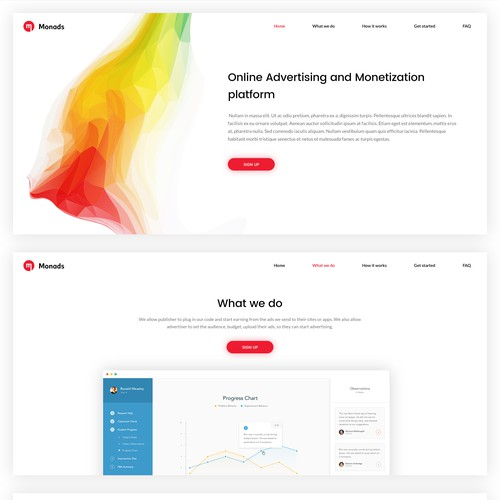 Flat with abstract feel web design