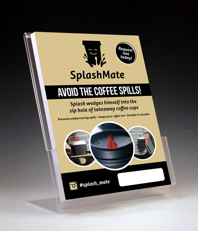 Create a eye-catching & cool flyer to sit on cafe counters promoting a new takeaway coffee product!