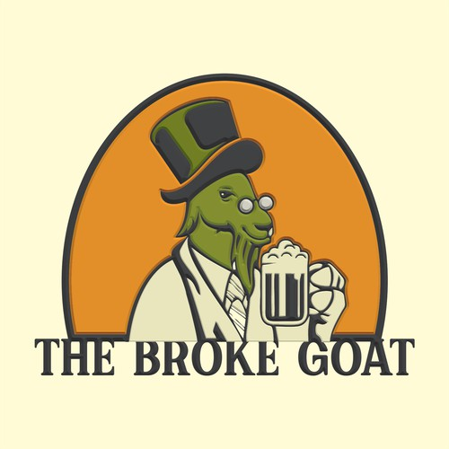 Whimsical goat logo for a farm brewery, based on Irish and British pubs.