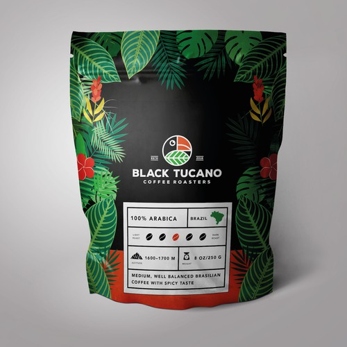 Colorful coffee label