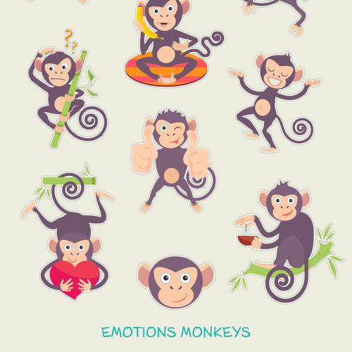 pack illustrations of a monkey character