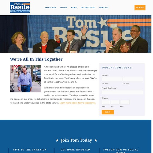 Squarespace website for Political Candidate