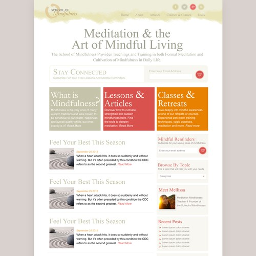 'The School Of Mindfulness' Website Design Project
