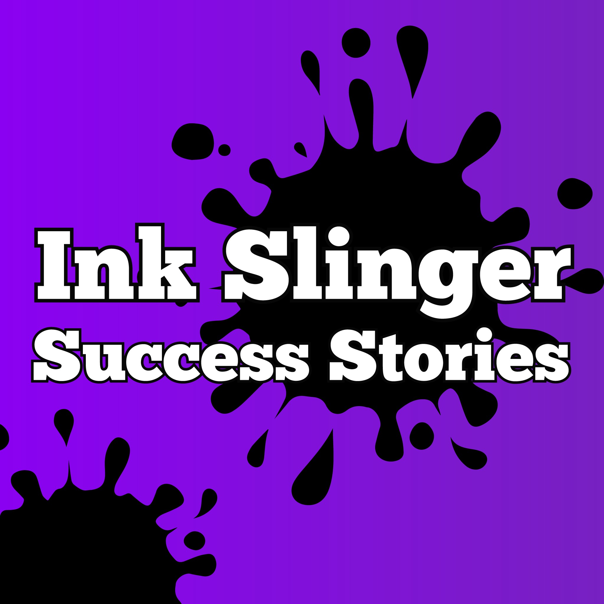 A fun, inky logo and facebook cover for Ink Slinger Success Stories Podcast
