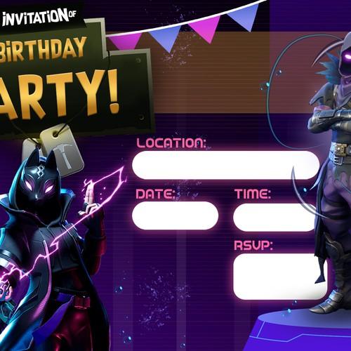Kid Invitation themed Fortnite