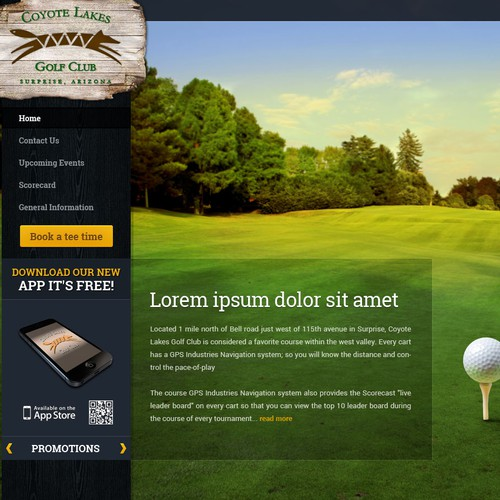 Website for Coyote Lakes Golf Club