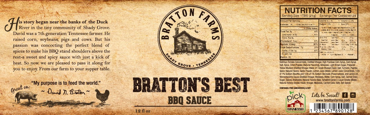 Design a rustic label for BBQ Sauce