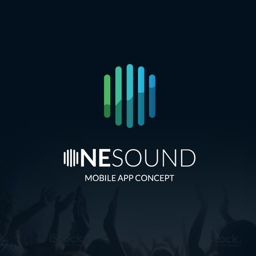 Create a minimal/flat app design for OneSound, a social music tool