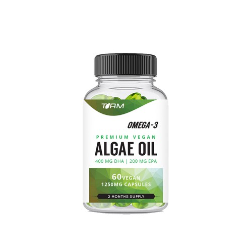 Label design for a Premium Vegan Algae Oil