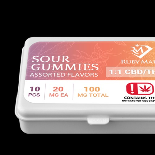 Design package label for Ruby Mae's, a Medical Marijuana edibles company