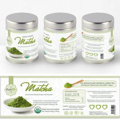 Label For Organic Japanese Matcha Tea Powder