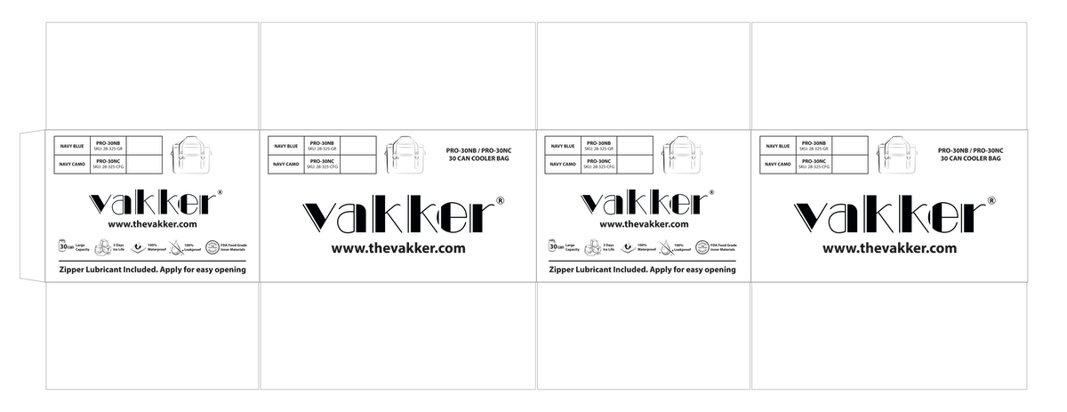 VAKKER Cooler Bag box design - 6 varieties