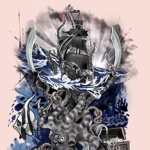 Tattoo: nautical theme, half-sleeve