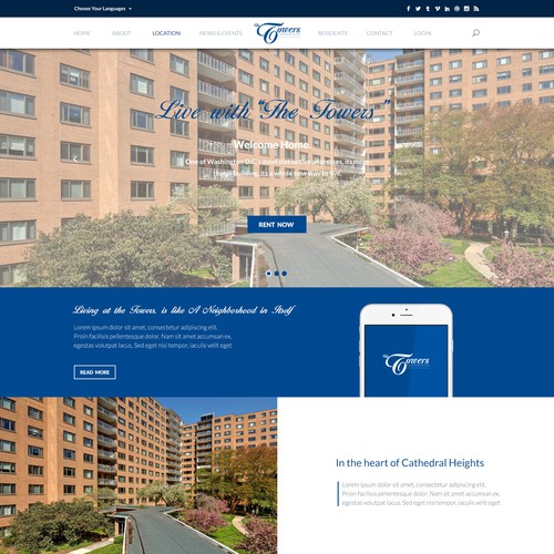 Webpage design for The Towers