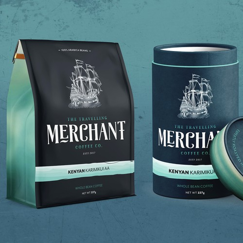 Travelling Merchant Coffee Co. Packaging Design
