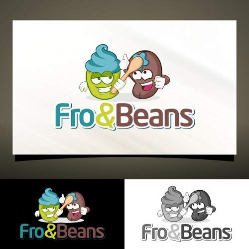 Cartoon Character Logo for Frozen Yoghurt and Coffee Shop