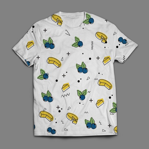 Design a blueberry + brie food flavour combo t-shirt
