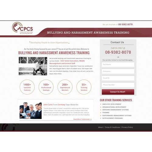 Create a Bullying and Harassment Awareness Training Landing Page for CPCS