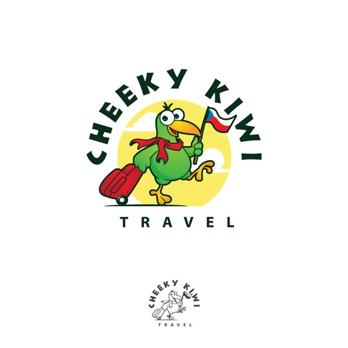 logo and character design for cheeky kiwi travel agency