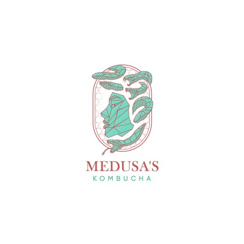 Low poly logo design for kombucha brand