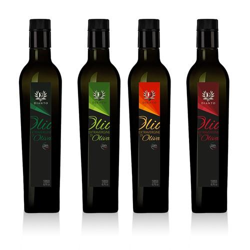 """Etichetta per bottiglia """"Olio Extravergine di Oliva, Dianto"""""""