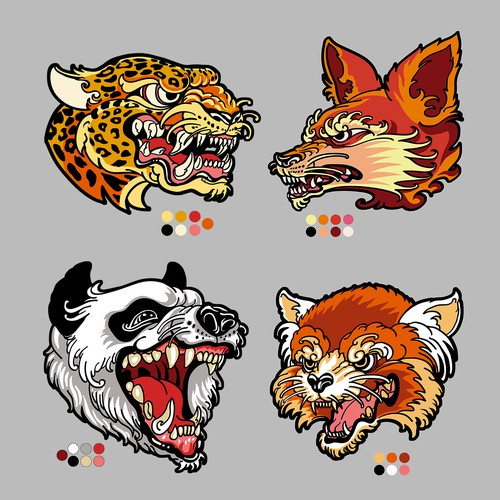 Animals Head design for embroidery patch