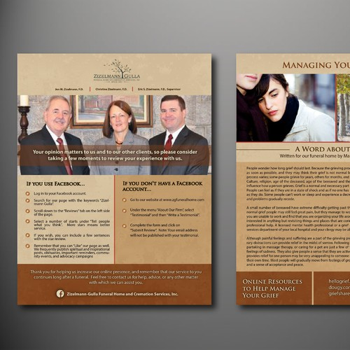 Brochure for a funeral home about managing grief