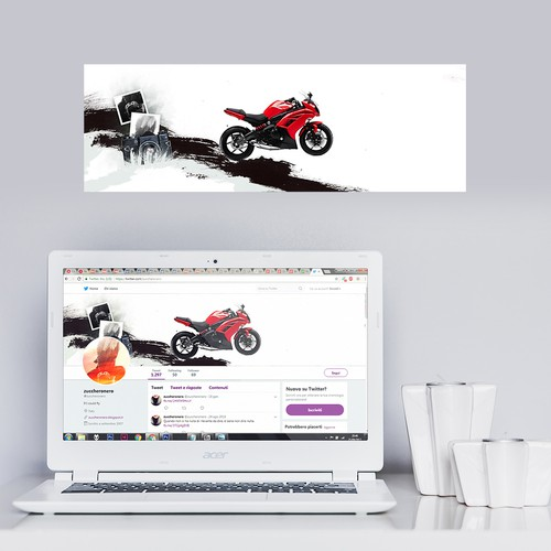 Twitter header for a female motorcycle rider and photographer