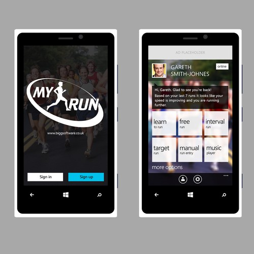 Re-design the UI for a running app on Windows Phone