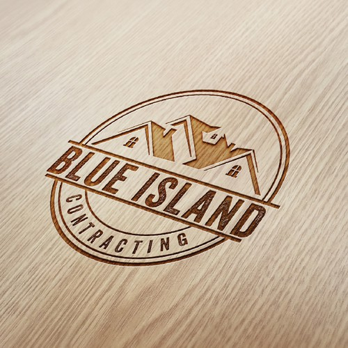 Blue Island Contracting logo design