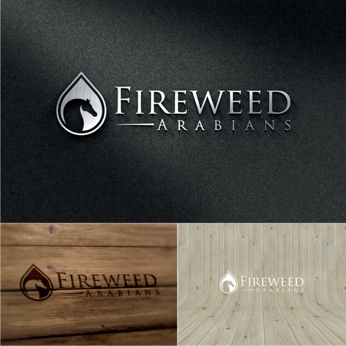 Create a logo incorporting the Arabian horse and fireweed (first growth flower after a forest fire)