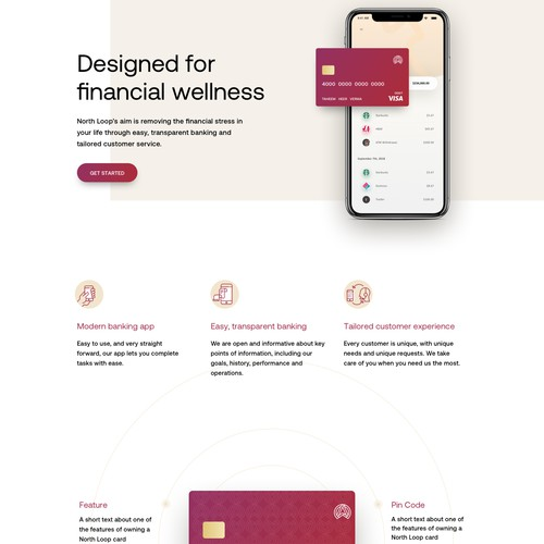 Minimalistic website for online banking app.
