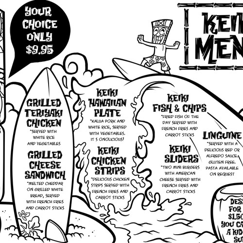 Create a fresh exciting Tiki's Grill & Bar Children's Menu