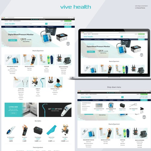 Homepage for Health & Medical e-commerce store