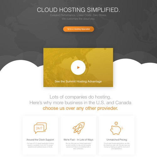 Landing page for hosting company