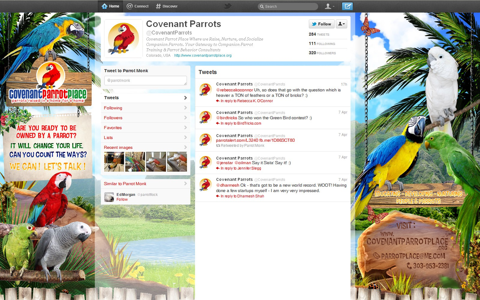 Covenant Parrot Place needs an Awesome Twitter Page