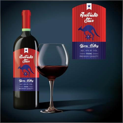 Label for australis star wine