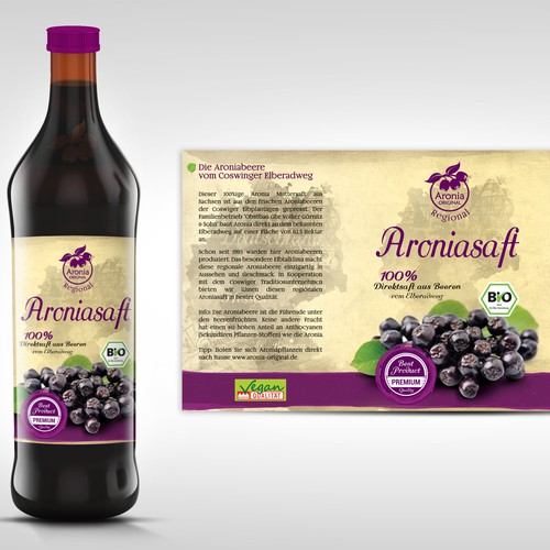 Label for local Organic Juice from Superfood Berry Aronia