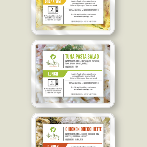 Healthy Ready's Gourmet Food Labels