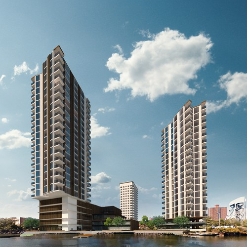 Aerial and eye view renderings of residential complex