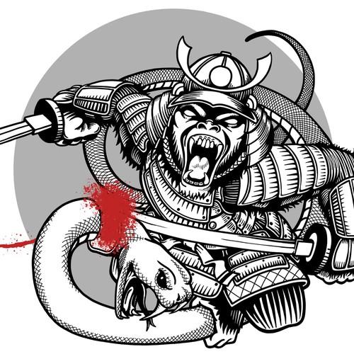 Samurai Gorilla Tattoo