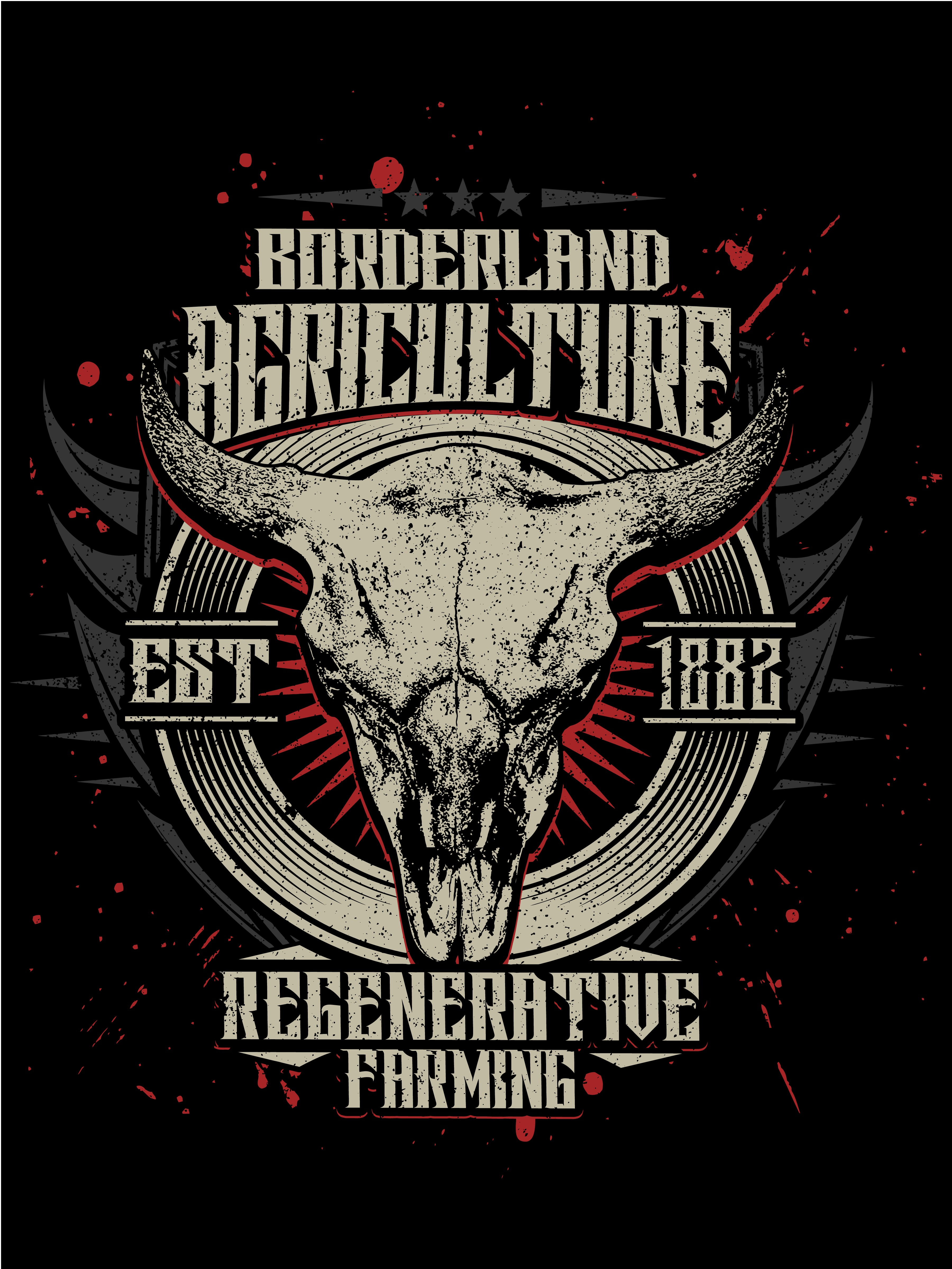 Create a vintage Affliction style tshirt for Borderland Agriculture bison farm and ranch!