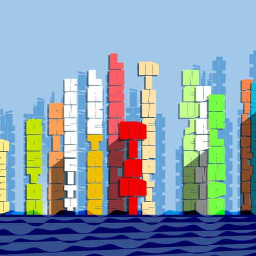Letters as blocks to build a city