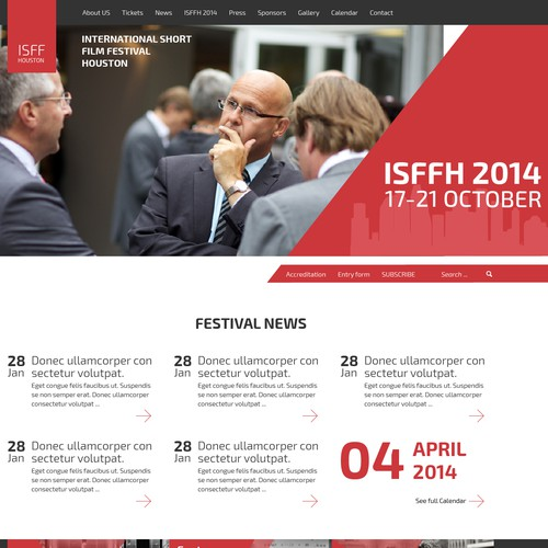 Home page for International Short Film Festival
