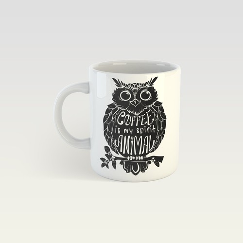 The hand-drawn sketch of an owl for the design of coffee mug.