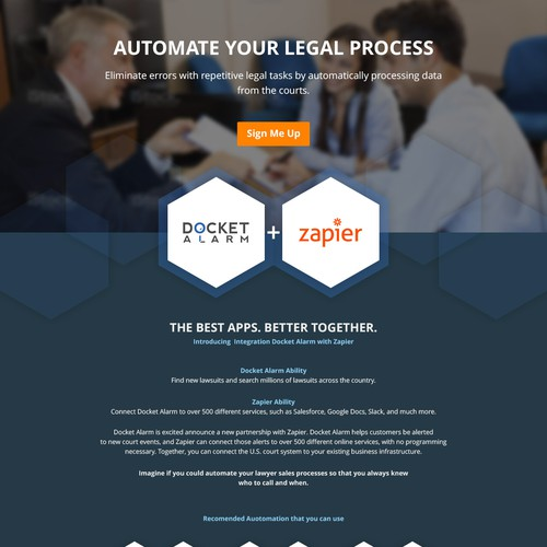 Landing page design for Docket Alarm